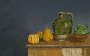 Green Pots, Yellow Gourds